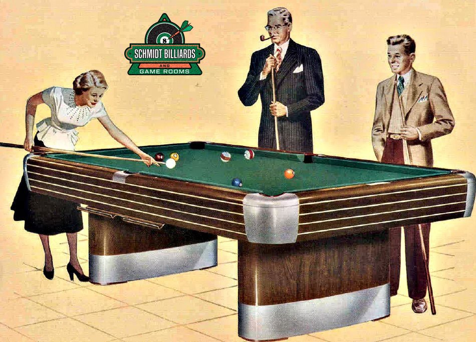 Cartoon of the Classic 9' Brunswick Anniversary Pool Table. Completely Restored & Refinished. Circa 1945. A Historic Used Pool Table from Schmidt Billiards & Game Rooms in Columbia, Missouri