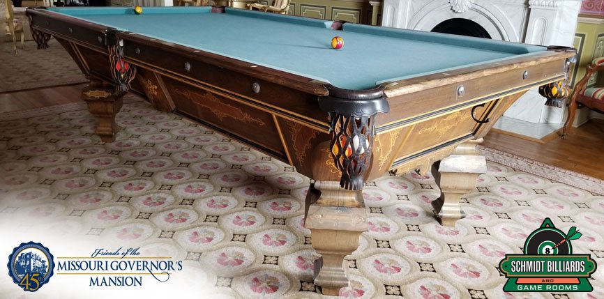 Governor's Pool Table, Made in 1882, Restored by Schmidt Billiards and Game Rooms in Columbia, MO with the Friends of the Missouri Governor's Mansion After Historic Restoration