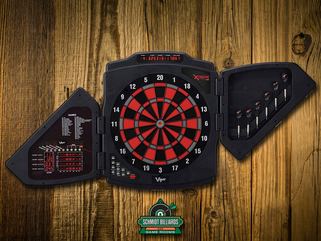Viper X-Treme Electronic Dartboard with Modern Door Shield, Built In Dart Storage For 6 Darts, 4 Row Cricket Score Display And Overhead Display, Score Adjustment For Misses and Bounce Outs from Schmidt Billiards