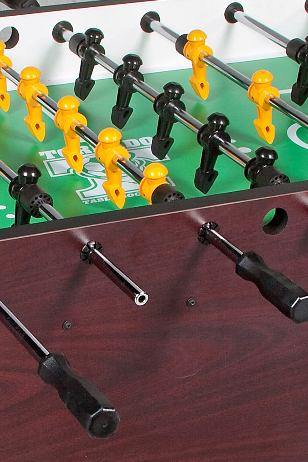 Patented Tornado Men Ball Control Sport Professional Foosball Table. Made in America. Mahogany Melamine from Schmidt Billiards and Game Rooms in Columbia, MO